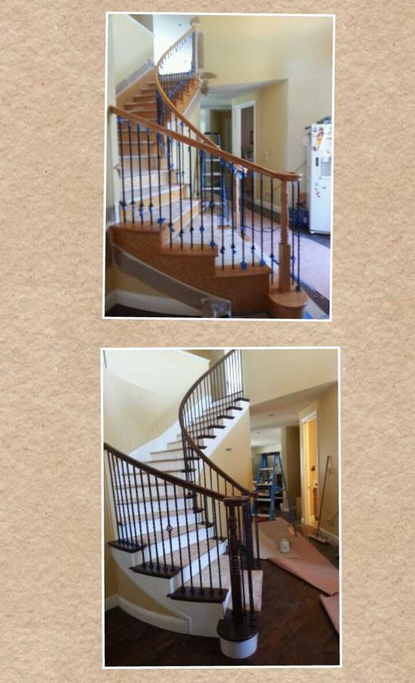 Before and After Stairs Stain