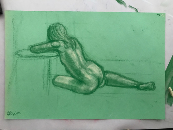 20 min study with nu pastels and coloured paper