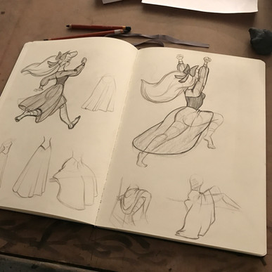 Drapery studies for a character study assignment (Ariel from The Little Mermaid)