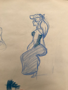 3min gesture from a character study, nu pastel on newsprint