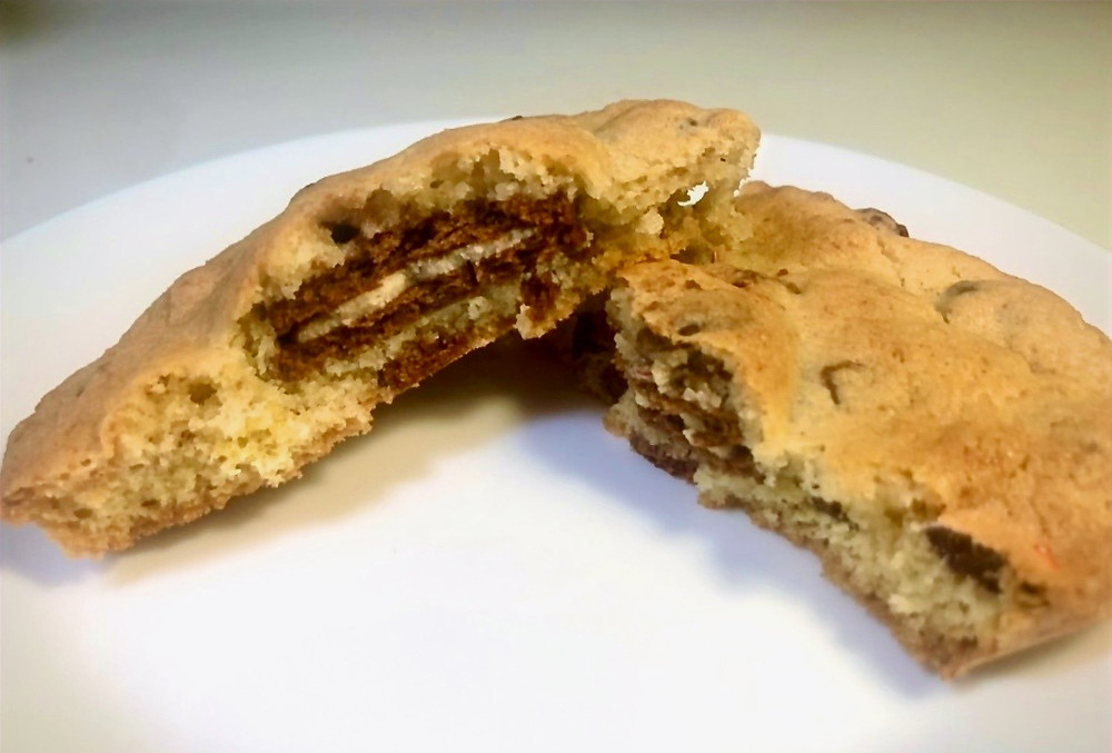 Twini cookies and Ninja biscuit in a cookie with chocolate chips