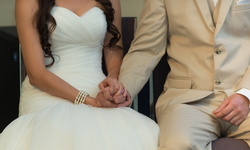 Holding hands during wedding