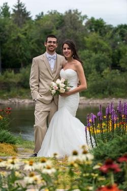 Bride & groom in garden