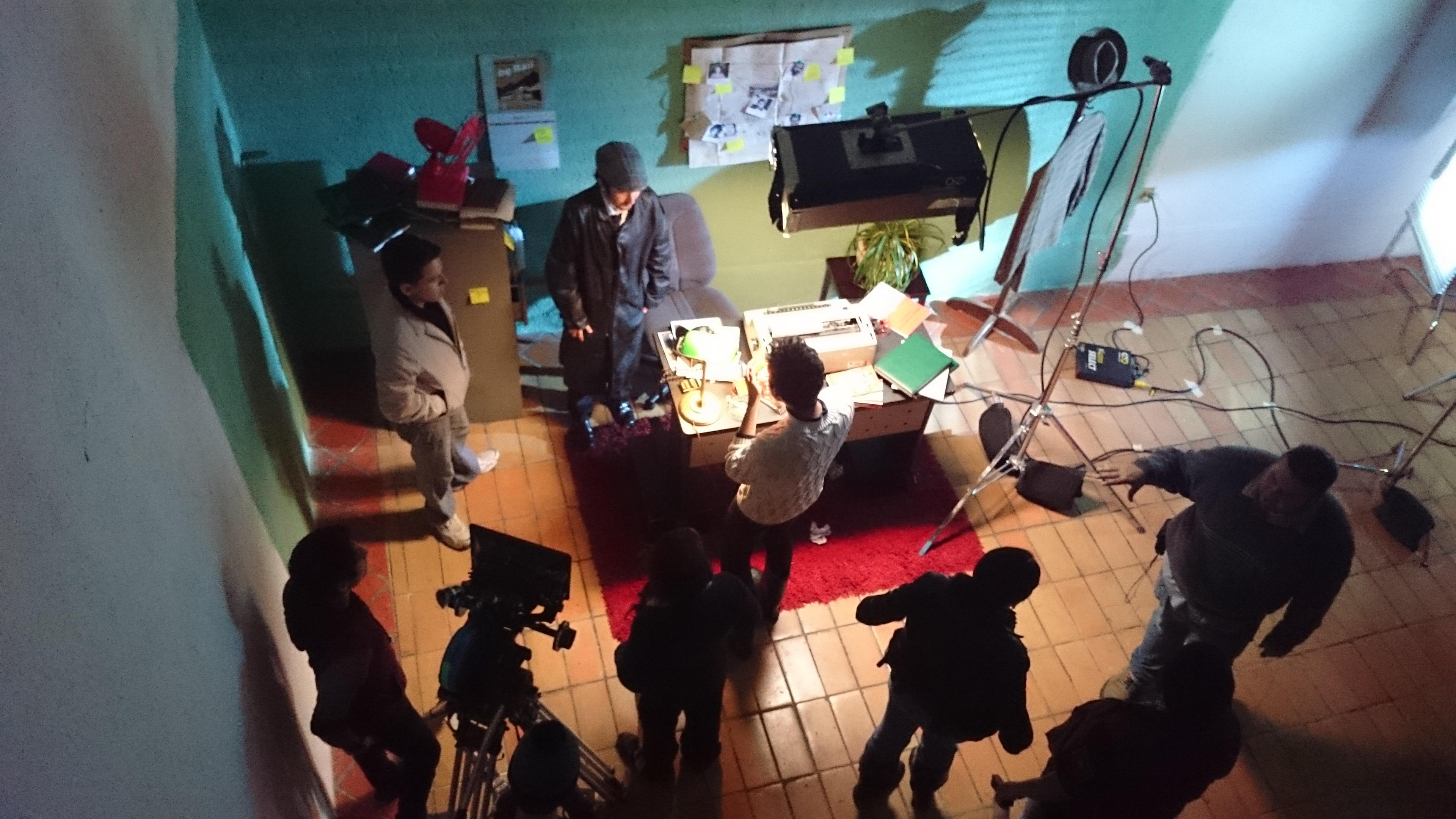 Alumnos en el set de filmación