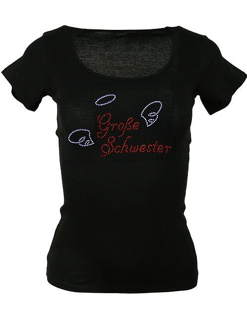 """Strass T-Shirt """"GROSSE SCHWESTER"""" in 4 Shirtfarben"""