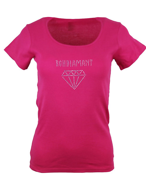 "Strass T-Shirt ""ROHDIAMANT"" in 4 Shirtfarb"
