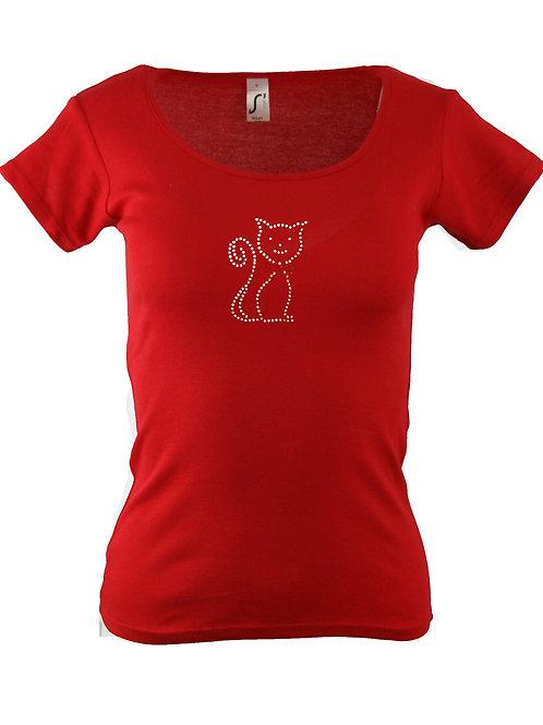 """Strass T-Shirt """"KATZE"""" in 4 Shirtfarben"""