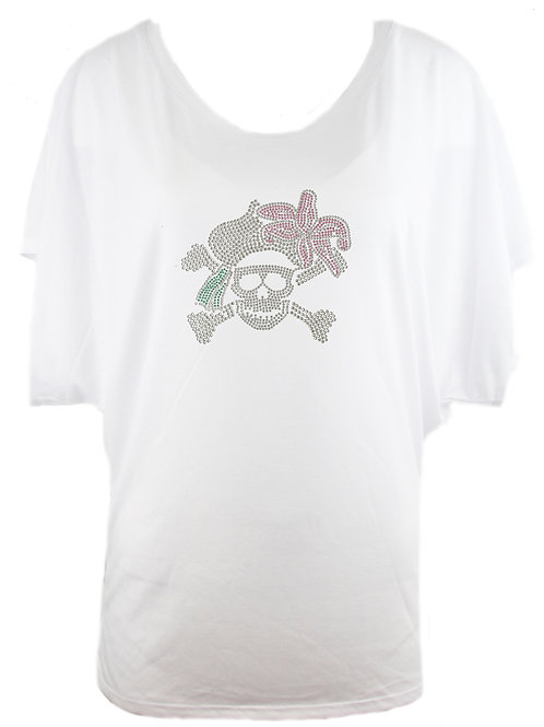 "Strass T-Shirt ""TOTENKOPF"" in 2 Shirtfarben"