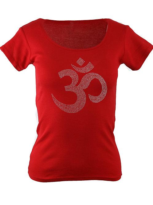 OM Damen Yoga Shirt  aus Strasssteinen in WUNSCHFARBE