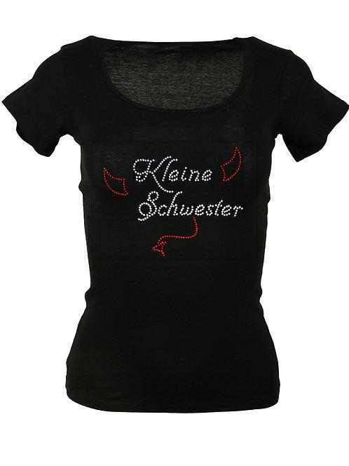 """Strass T-Shirt """"KLEINE SCHWESTER"""" in 4 Shirtfarben"""