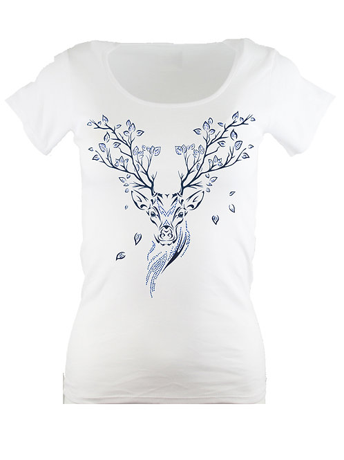 "Strass T-Shirt ""HIRSCH"" in 4 Shirtfarben"