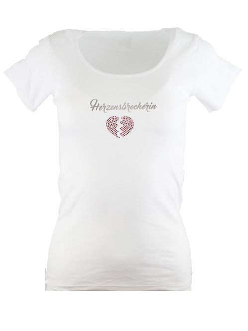 "Strass T-Shirt ""HERZENSBRECHERIN"" in 4 Shirtfarben"