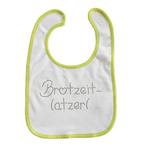 """Baby Lätzchen """"BROTZEITLATZERL"""" in GRÜN"""