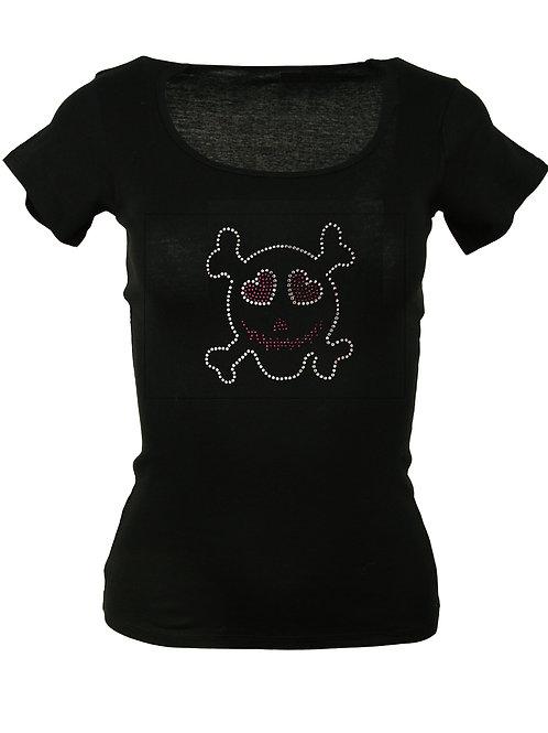 """Strass T-Shirt """"TOTENKOPF SKULL"""" in 4 Shirtfarben"""