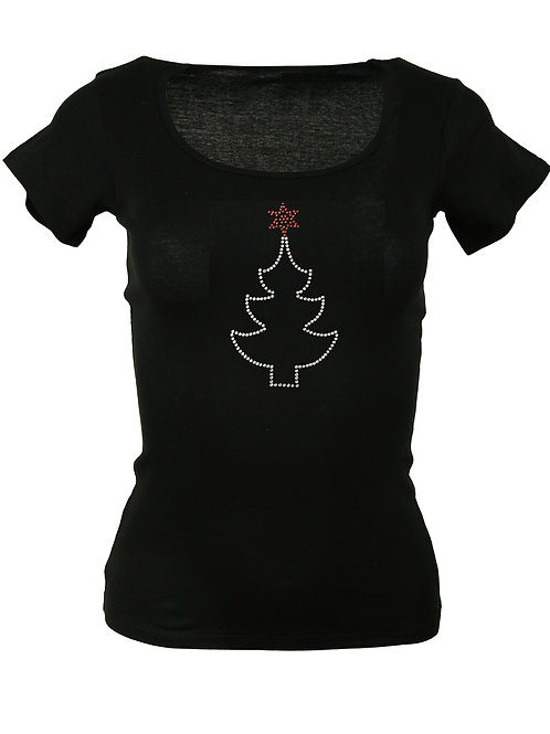 "Strass T-Shirt ""CHRISTBAUM"" in 4 Shirtfarben"