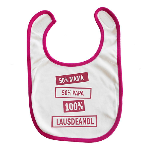 """Baby Lätzchen """"50%+50%=100% Lausdeandl"""" in PINK"""