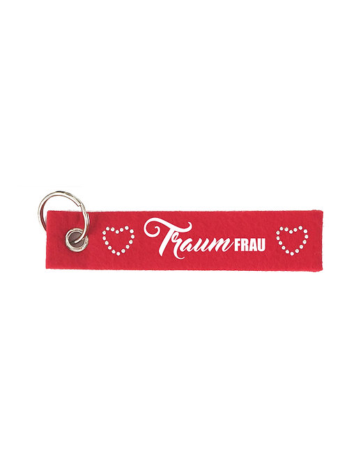 TRAUMFRAU mit Herzen Filz Schlüsselanhänger