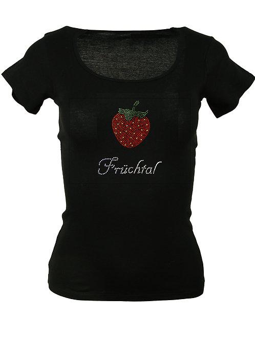 """Strass T-Shirt """"FRÜCHTAL"""" in 4 Shirtfarben"""