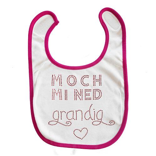 """Baby Lätzchen """"moch mi ned grandig"""" in pink"""