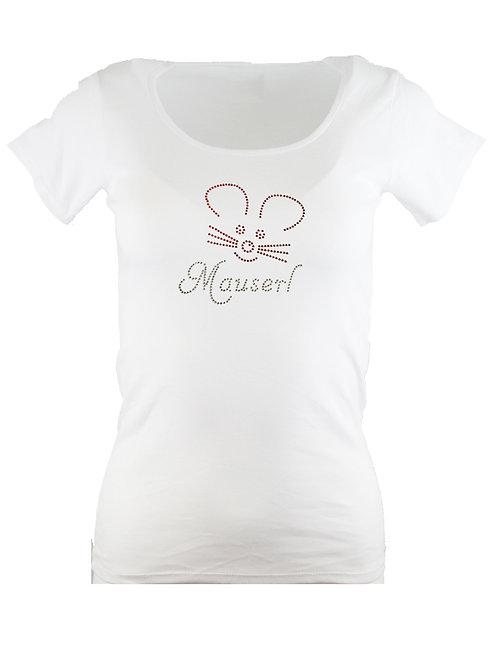"Strass T-Shirt ""MAUSERL"" in 4 Shirtfa"