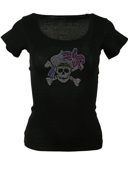 "Strass T-Shirt ""TOTENKOPF"" in 4 Shirtfarben"