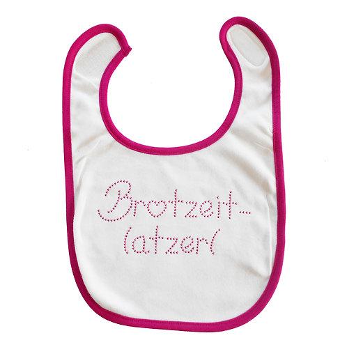 """Baby Lätzchen """"BROTZEITLATZERL"""" in PINK"""