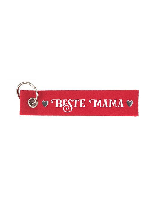 BESTE MAMA mit Herzen Filz Schlüsselanhänger