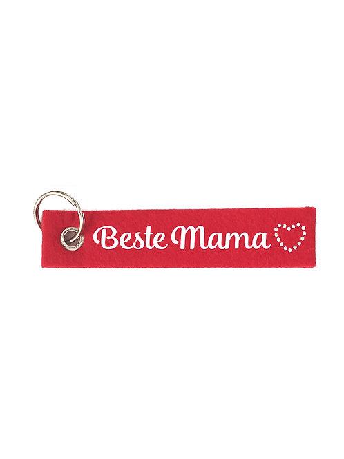 BESTE MAMA mit Herz aus Strasssteinen Filz Schlüsselanhänger