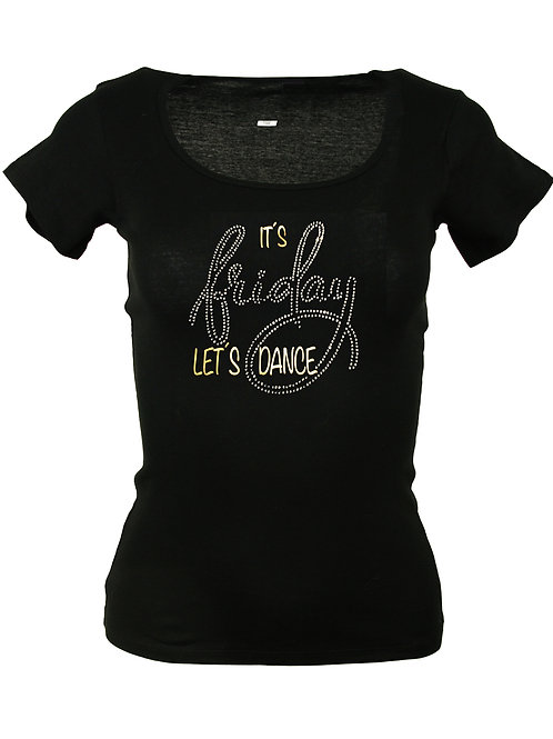 "Strass T-Shirt ""IT´S FRIDAY"" in 4 Shirtfarben"