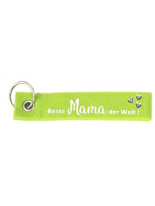 Beste Mama der Welt mit Herzen Filz Schlüsselanhänger
