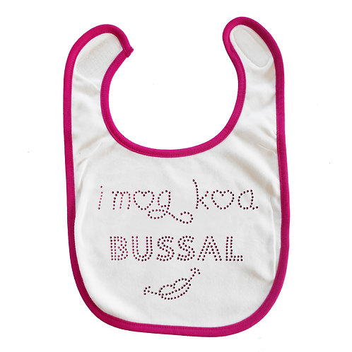 "Baby Lätzchen ""I mog koa Bussal"" in pink"