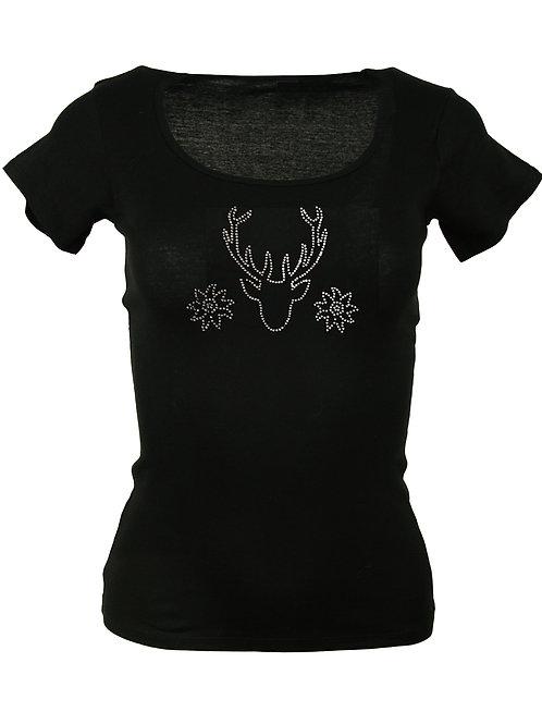 """Trachten T-Shirt """"HIRSCH MIT EDELWEISS"""" in 4 Shirtfarben"""