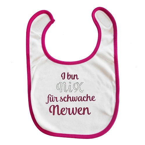 """Baby Lätzchen """"nix für schwache Nerven"""" in pink"""