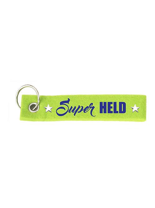 SUPER HELD mit Stern Filz Schlüsselanhänger
