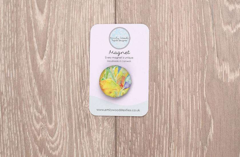 'Daffodil Crazy' Fabric Magnet