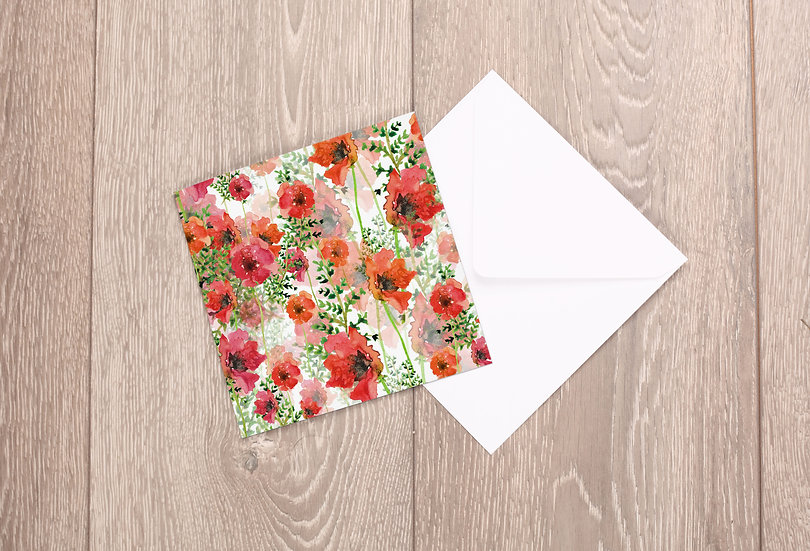 'Poppy Field' Greetings Card