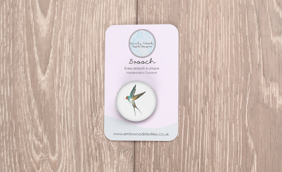 Swallow Fabric Brooch