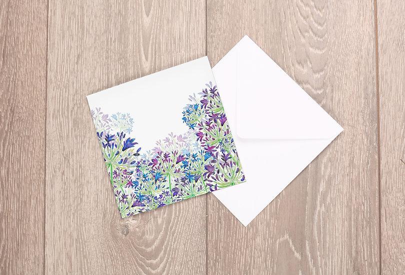 'Agapanthus Ascending' Greetings Card