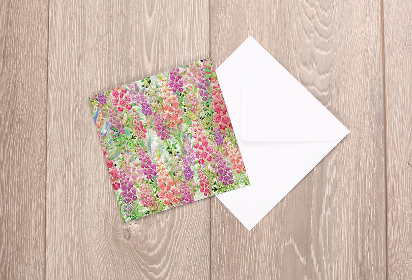 'Foxglove Frenzy' Greetings Card