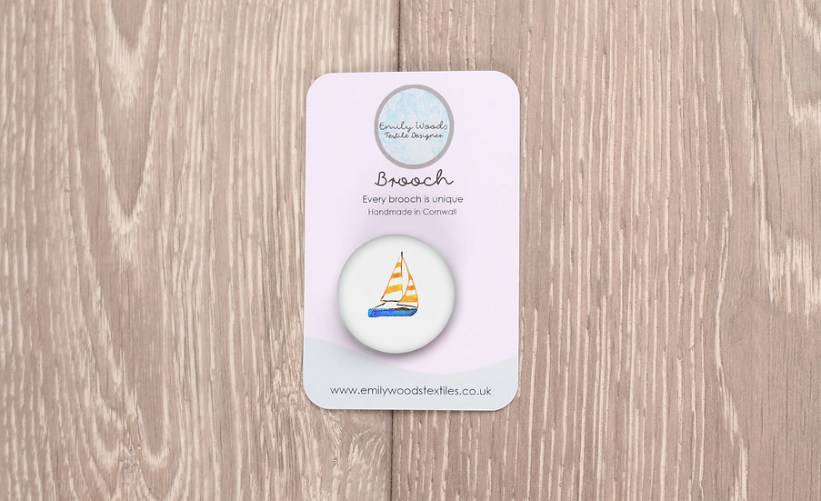 Boat Fabric Brooch