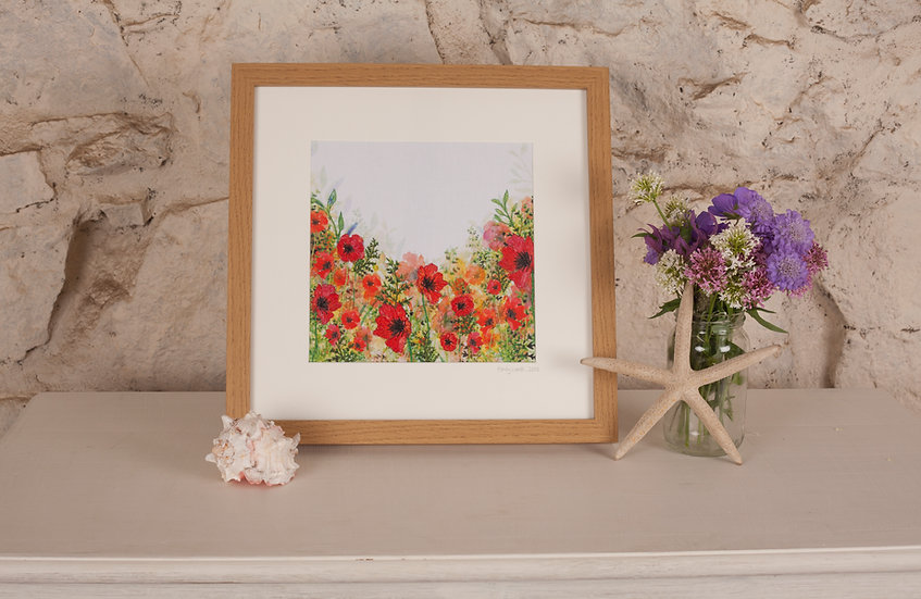 'Wild Garden' Embroidered Fabric Print