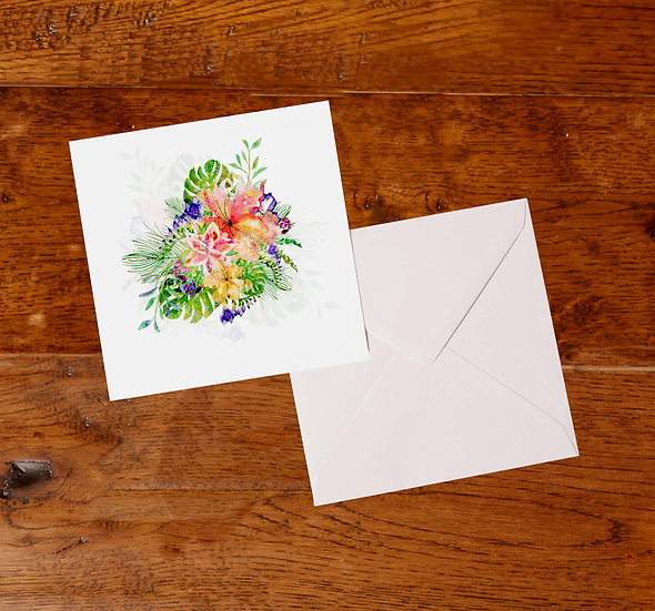 'Tropical Bloom' Greetings Card