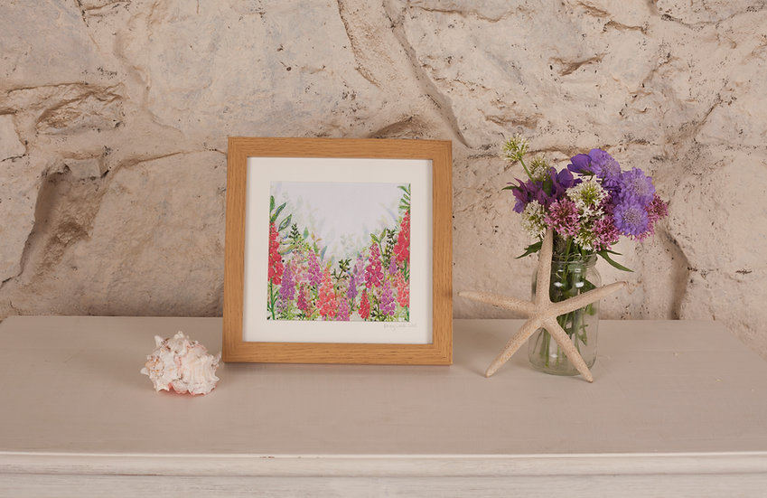 'Foxglove Garden' Embroidered Fabric Print