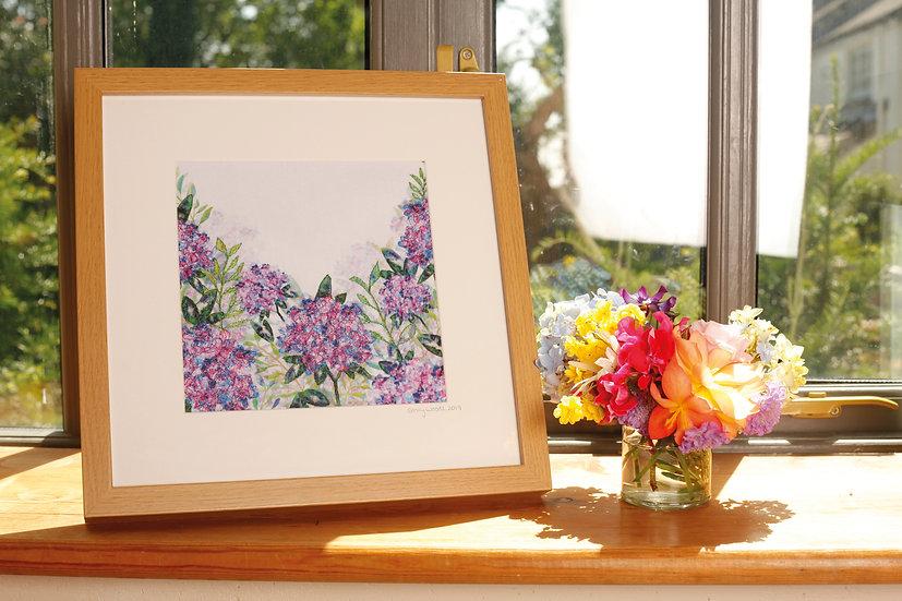 'Hydrangeas' Embroidered Fabric Print