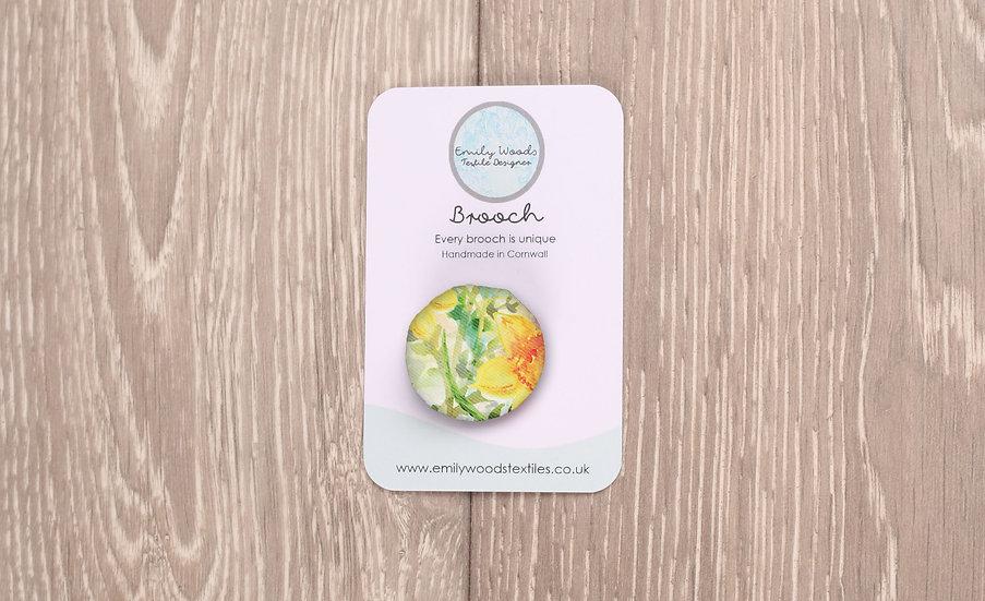 'Daffodil Crazy' Fabric Brooch