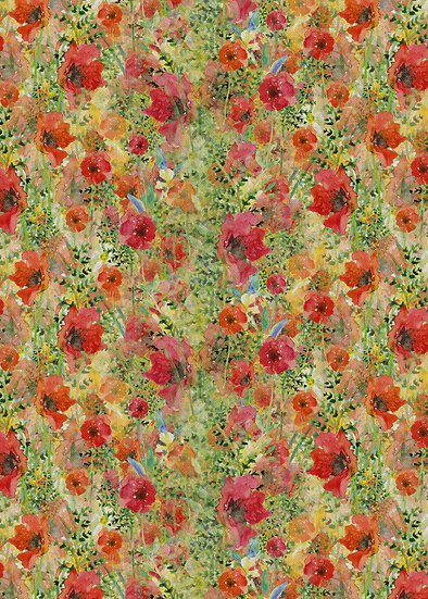 'Fiery Flowers' Fabric