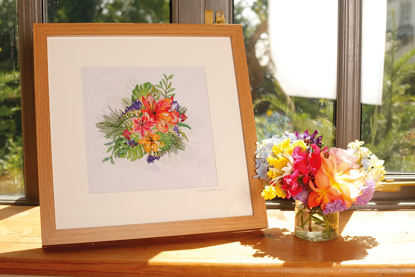 'Tropical Bloom' Embroidered Fabric Print