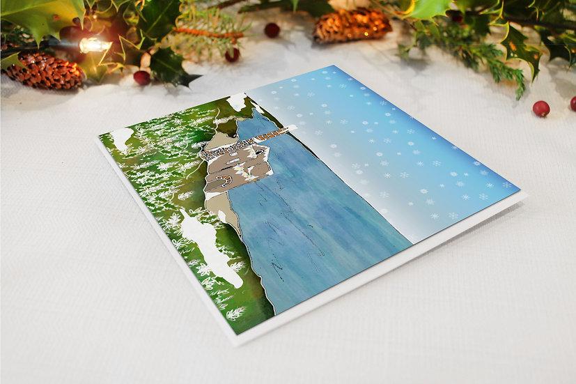 Wheal Coates Tin Mine in Winter Christmas Card