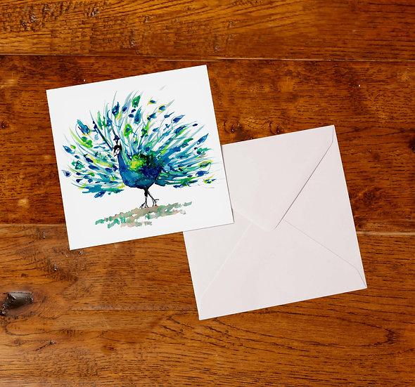 'Peacock' Greetings Card