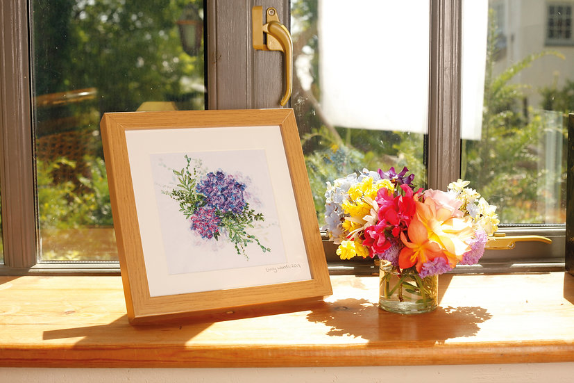 'Hydrangea Bouquet' Embroidered Fabric Print